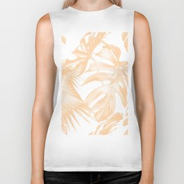 Island Vacation Hibiscus Palm Coral Biker Tank