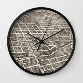 Vintage Pictorial Map of Reno Nevada (1907) Wall Clock