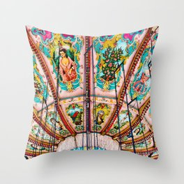 Victorian Carousel Swings Art Detail Throw Pillow