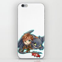 hiccup iPhone & iPod Skins featuring Httyd 2 - Chibi Hiccup and Toothless by ibahibut