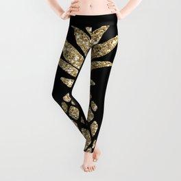 Gold Glitter Pineapple Leggings