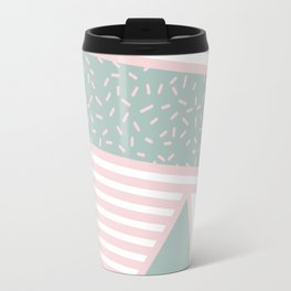 Modern Memphis Illustration - Gemetrical  Retro Art in Pink and Mint -  Mix & Match With Simplicity Travel Mug