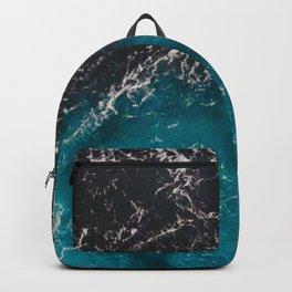 Wavy foamy blue black ombre sea water Backpack