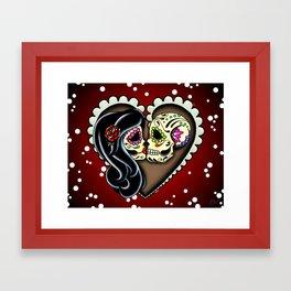 Ashes - Day of the Dead Couple - Kissing Sugar Skull Lovers Framed Art Print