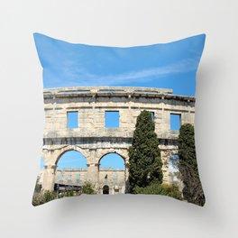 pula croatia ancient arena amphitheatre Throw Pillow