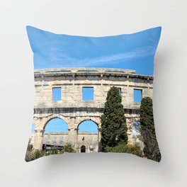 pula croatia ancient arena amphitheatre Throw Pillow