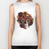 ohm Biker Tanks featuring Full circle...Floral ohm skull by Kristy Patterson Design