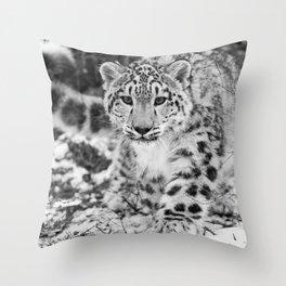 Snow Leopard Black and White Throw Pillow