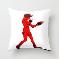 boxing Throw Pillows featuring Boxing 2 by Rachel E. Morris