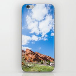 Red Rocks In Colorado And Green Field, Big Sky (Portrait) iPhone Skin