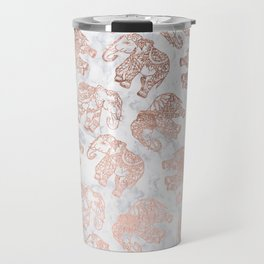 Boho rose gold floral paisley mandala elephants illustration white marble pattern Travel Mug