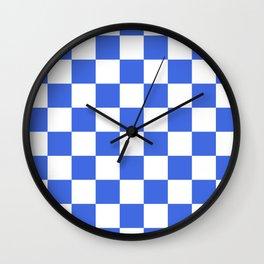 Checkered - White and Royal Blue Wall Clock