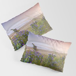 """Purple flowers at the sea sunset"" Pillow Sham"