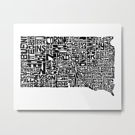 Typographic South Dakota Metal Print