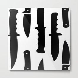 Survival Knives Pattern - Black and White Metal Print