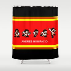 8-bit Andres 5 pose v2 Shower Curtain