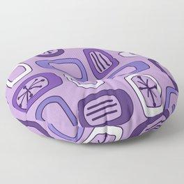 Midcentury MCM Rounded Rectangles Purple Floor Pillow