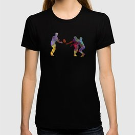 Rugby men players 02 in watercolor T-shirt