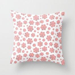 Red shiny snowflakes Throw Pillow