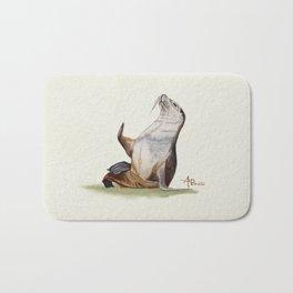 Sea Lion Watercolor Bath Mat