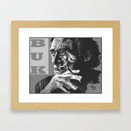 Charles Bukowski -Popart - bw Framed Art Print