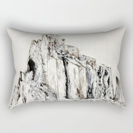 Abstract Landscape Painting Shiprock black white geometric Rectangular Pillow