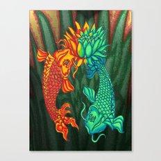 Koi Fish Lotus Canvas Print