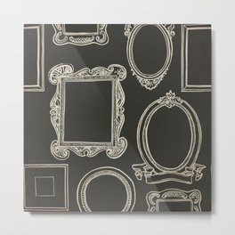 Empty White Frames on Black - Whimsical and Kitschy Hand Drawn Frames Metal Print