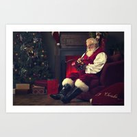 Santa Claus Working on make toys for Christmas Art Print