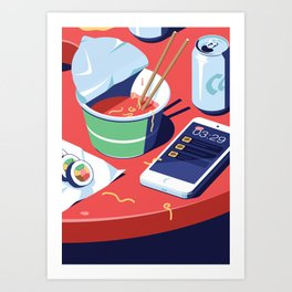 A night out in Seoul - Part 10 - Convenient Store Dinner Art Print