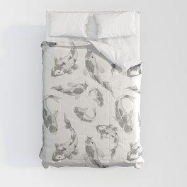 Cute gray white watercolor oriental koi fish pattern Comforters