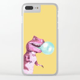 Bubble Gum Pink T-rex in Yellow Clear iPhone Case