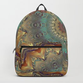 Indian Bohemian Flower Mandala Pattern, Gold Teal and Blue Backpack