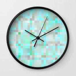 Mint Green & Gray Pixels Wall Clock