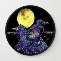 blankets Wall Clocks featuring Midnight Moon Ravens by SharlesArt