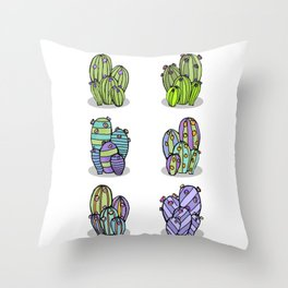 6 Striped Flowering Cacti Throw Pillow