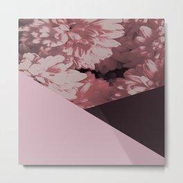 Pink mums geometrical collage Metal Print