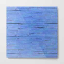 Blue Wooden Planks Wall Metal Print