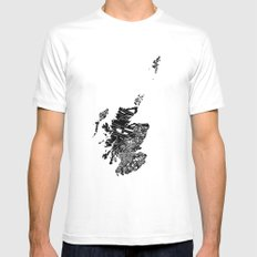 Typographic Scotland European map art White Mens Fitted Tee MEDIUM