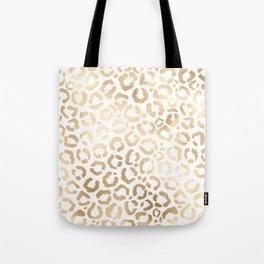 Elegant Gold White Leopard Cheetah Animal Print Tote Bag