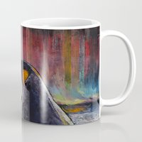 penguin Mugs featuring Aurora Penguin by Michael Creese