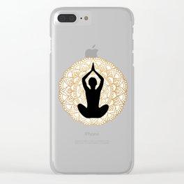 Lotus Yoga Pose Mandala Black White Gold Clear iPhone Case