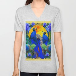 BLUE GREEN PEACOCK YELLOW BLUE ROSE FLORAL PATTERN Unisex V-Neck