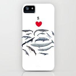 I love whales design iPhone Case