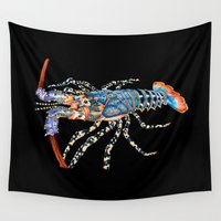 lobster Wall Tapestries featuring Rock Lobster by Tim Jeffs Art