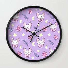 Sakura Cat // Purple Wall Clock