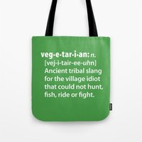 vegetarian Tote Bags featuring Vegetarian definition dictionairy by Laundry Factory