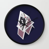 house of cards Wall Clocks featuring Cards by Aldo Cervantes Saldaña