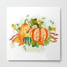 Pumpkin Bouquet Metal Print