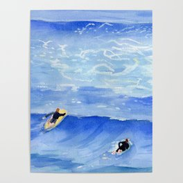 Getting ready to take this wave surf art Poster